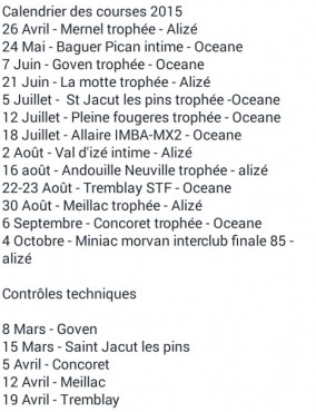 CALENDRIER UFOLEP 2015